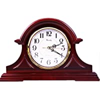 Mantel Clock – Quartz Movement,Battery Operated, Silent Wood Mantle Clock(11-inch)