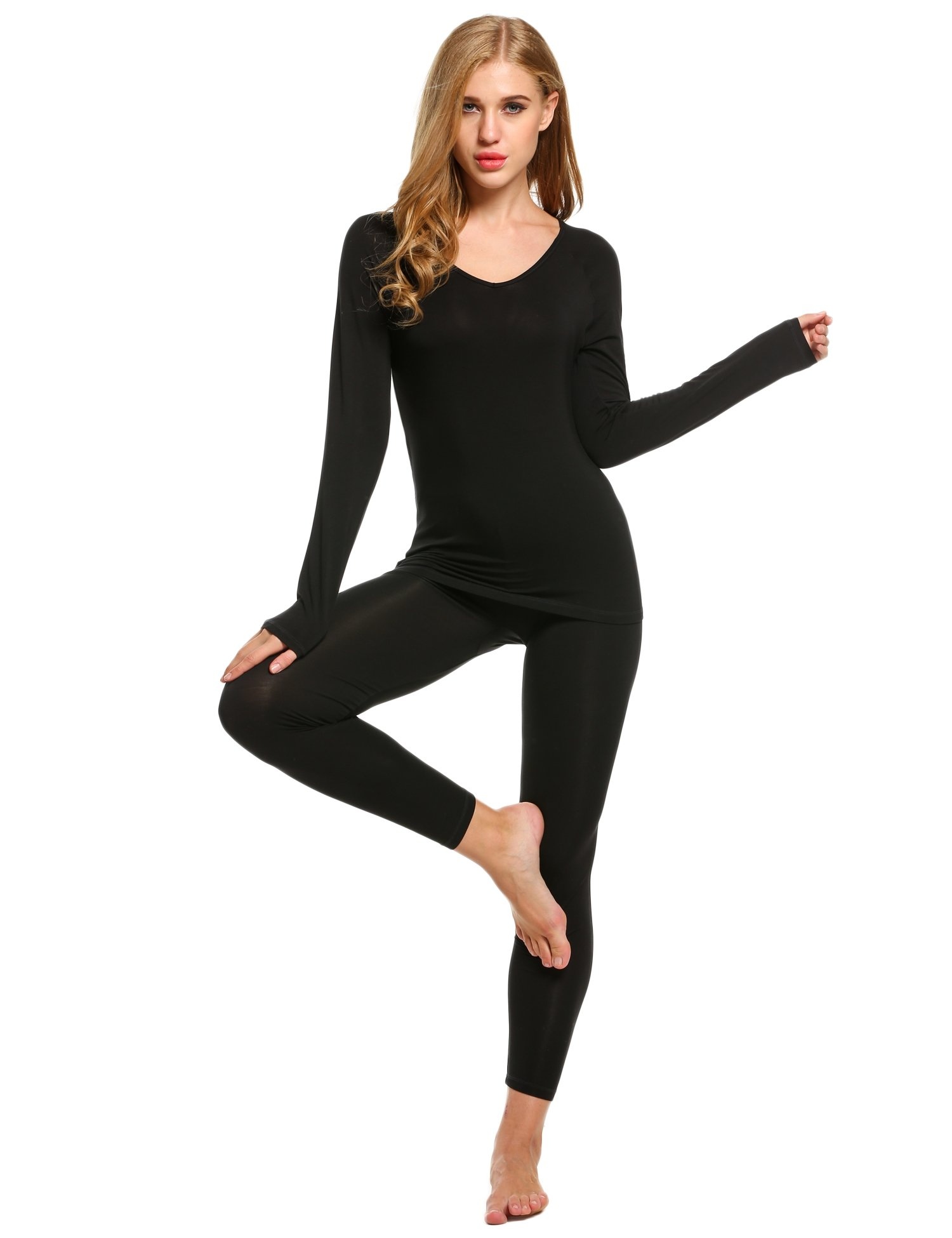 Ekouaer Women Thermal Underwear Set Solid V-Neck Long Sleeve Top and Long Pants Bottom Sleepwear by Ekouaer (Image #3)