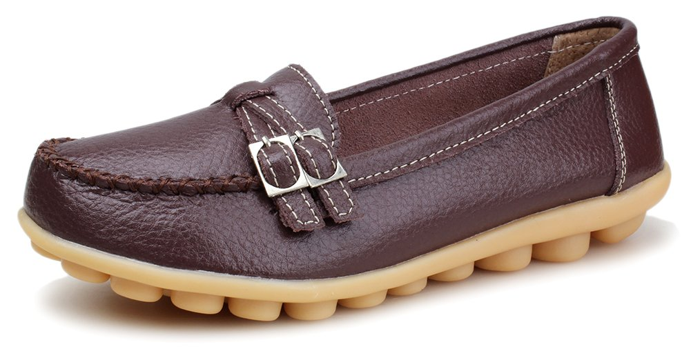 2349412d523 Kunsto Women s Leather Loafer Shoes Slip On US Size 9 Coffee  Amazon.com.au   Toys   Games
