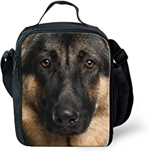 INSTANTARTS Kid Durable Picnic Bag German Shepherd Dog Insulated Lunch Box Food Container