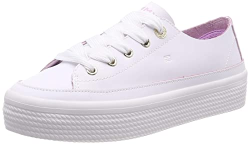 Tommy Hilfiger Leather Flatform Sneaker, Zapatillas para Mujer, (Blanco 100), 41 EU: Amazon.es: Zapatos y complementos