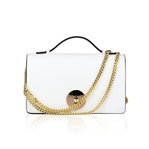dc720bde63 Image Unavailable. Image not available for. Color  JESSICA Clutch pocket shoulder  crossbody evening purse light gold chain smooth leather
