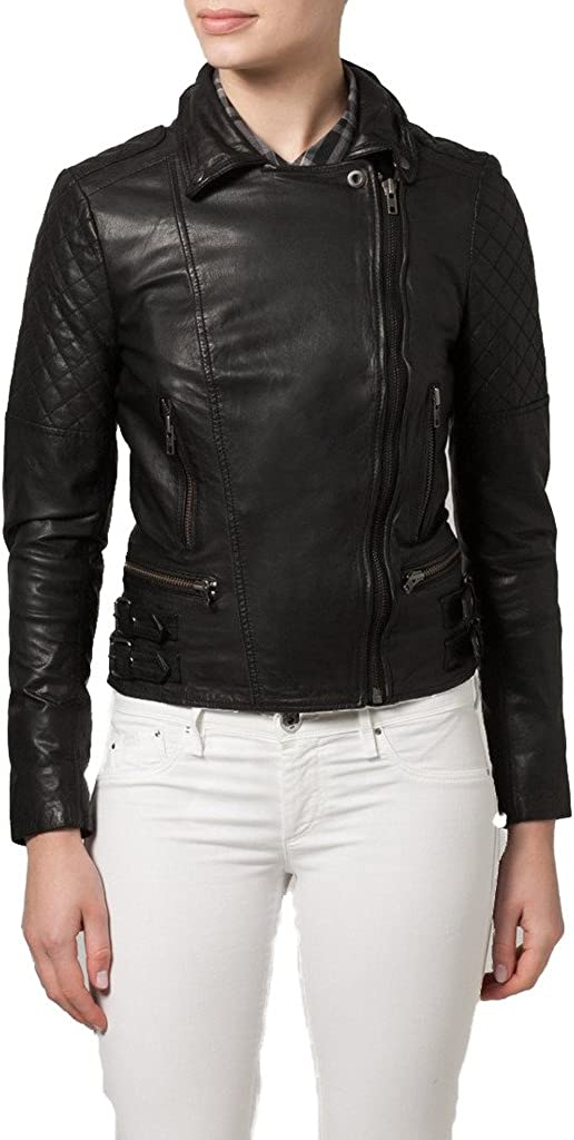Womens Sheep Leather Motorcycle Slim Fit Outwear Jackets LFW089
