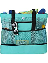 Beach Tote Bag For Women with Soft Cooler and Top Zipper — Extra Large Beach Bag, Mesh Tote Bag or Pool Bag