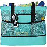 Beach Tote Bag For Women with Soft Cooler and Top Zipper — Extra Large Beach Bag, Mesh Tote Bag or Pool Bag [Mint]