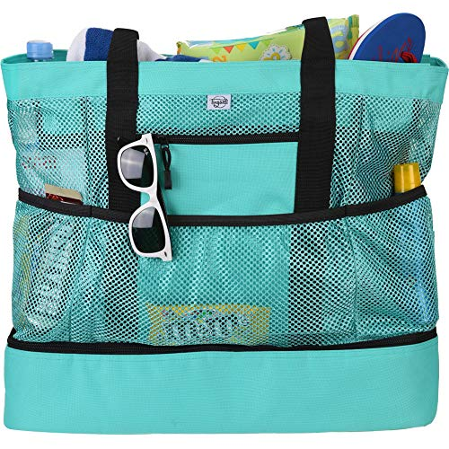 Tingueli Beach Tote Bag For Women with Soft Cooler and Top Zipper - Extra Large Beach Bag [Turquoise]
