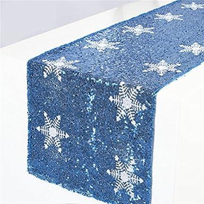 TRLYC Christmas White Snowflake Pattern Rose Gold Sequin Table Runner-12x72