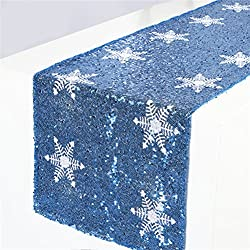 Turquoise Sequin Table Runner With White Snowflake
