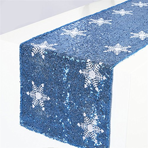 - TRLYC Turquoise Sequin Table Runner with Shimmer White Snowflake Pattern for Christmas Party Decoration-12 x72