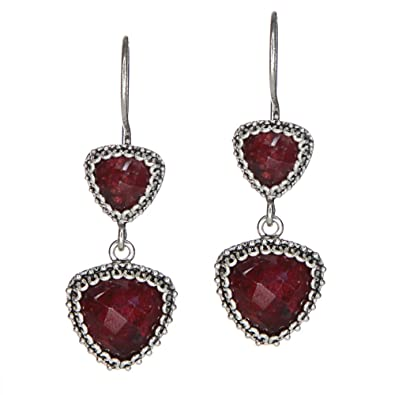 c222fdc55 Image Unavailable. Image not available for. Color: 925 Sterling Silver  Handmade Triangle Dangle Ruby Earrings