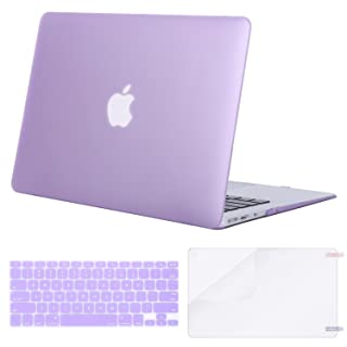 MOSISO Plastic Hard Case & Keyboard Cover & Screen Protector Only Compatible MacBook Air 13 Inch (Models: A1369 & A1466, Older Version Release 2010-2017), Light Purple