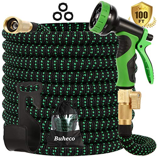 """Buheco Expandable Garden Hose 100ft-Water Hose with 9 Function Spray Nozzle and Durable 4 Layers Latex-3/4"""" Solid Brass Fittings-Strength 3750D No Kink Flexible Lightweight Expanding Hose Pipe Set"""