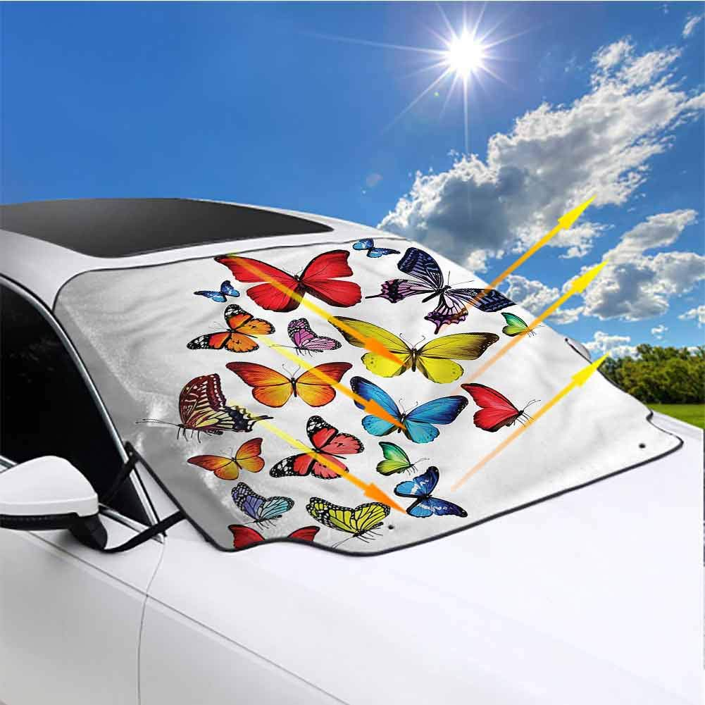 Windshield Sunshade Foldable Sunshade Visor Shield Cover Americana,Flag Flying Butterflies Anti-Theft Tuck-in Flaps Weatherproof Large 57.9 x 46.5 in