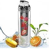 CAMTOA 800ml Bottiglia Tritan Per Infusioni e Bevande Alla Frutta /Trasparente Sport Bottiglia Zucca Succo Di Frutta Infusione Acqua - No Senza BPA