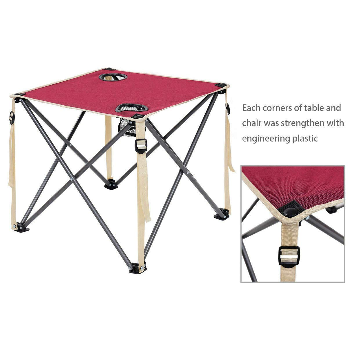 ANA Store Vacations Cookout Party Curl Stand Metal Iron Stell Frame Red Oxford Fabric Portable Folding Table Chairs Set Inside Outside Camp Beach Picnic with Carrying Bag by ANA Store (Image #8)