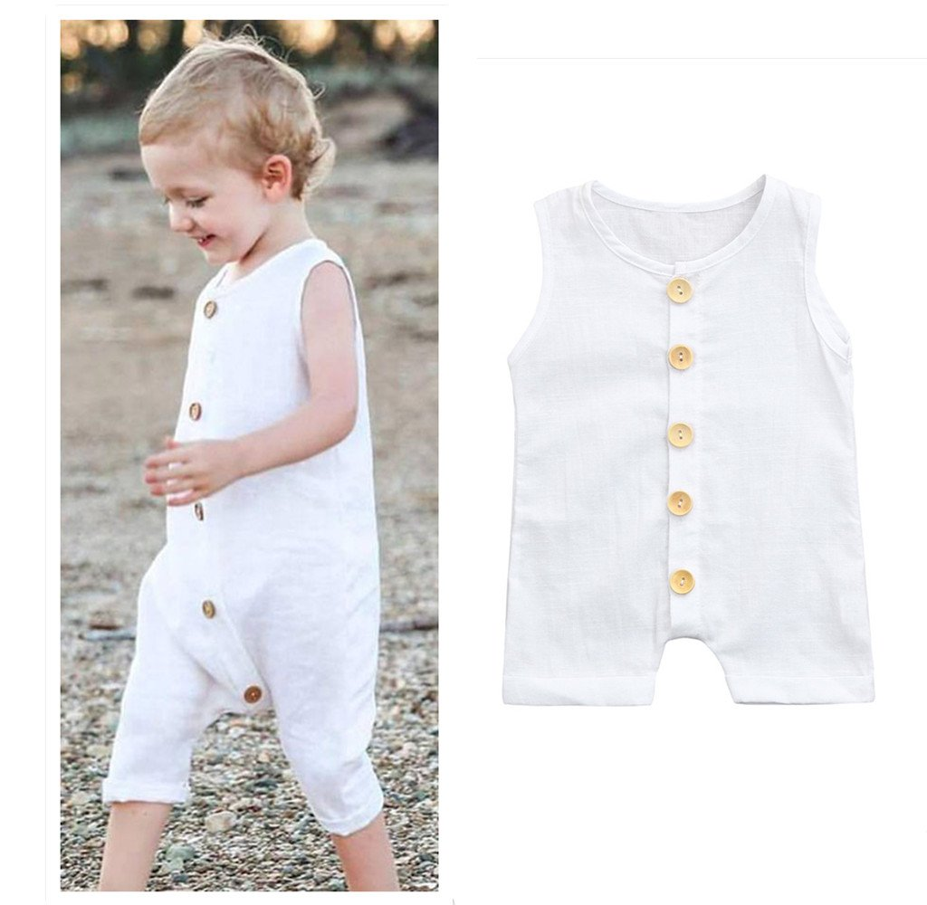 489bf01f2784 Buy Franterd Baby Solid White Rompers with Big Button Kid Boys Girls  Sleeveless Playsuit Jumpsuits One-piece Pants Cotton Clothing (2T