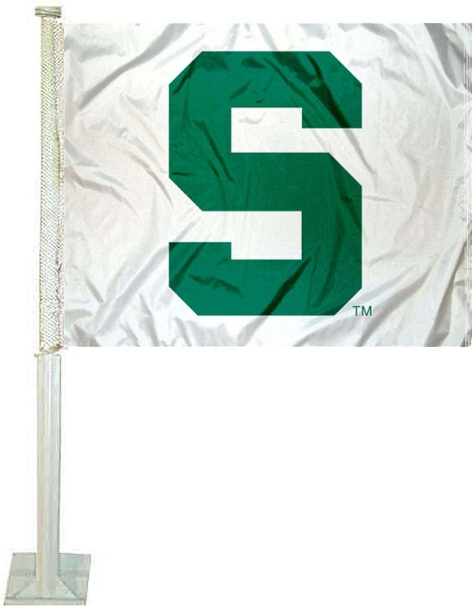 Michigan State Spartans White Car Flag College Flags /& Banners Co