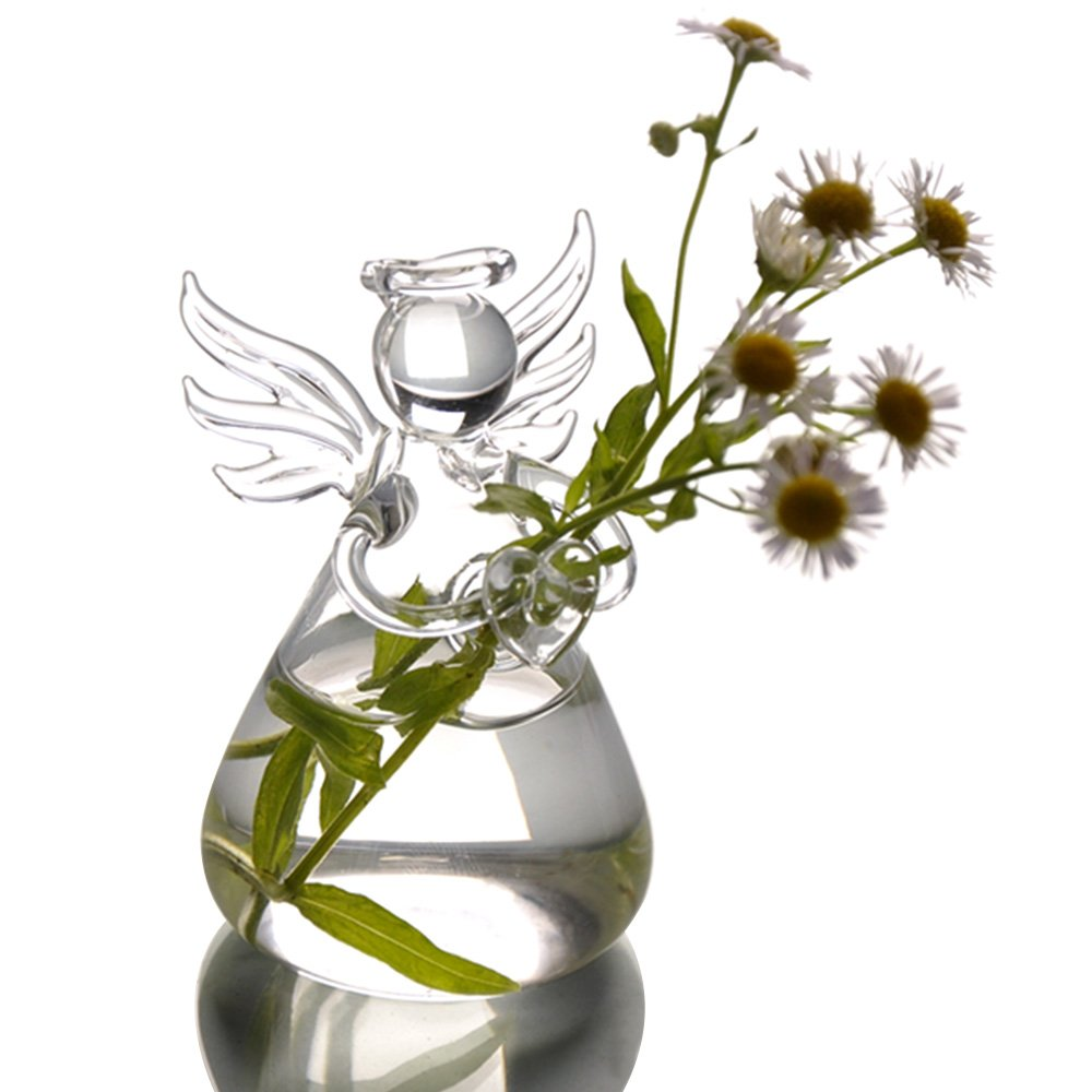 Angel Style Clear Glass Flower Decoration Vase Gosear