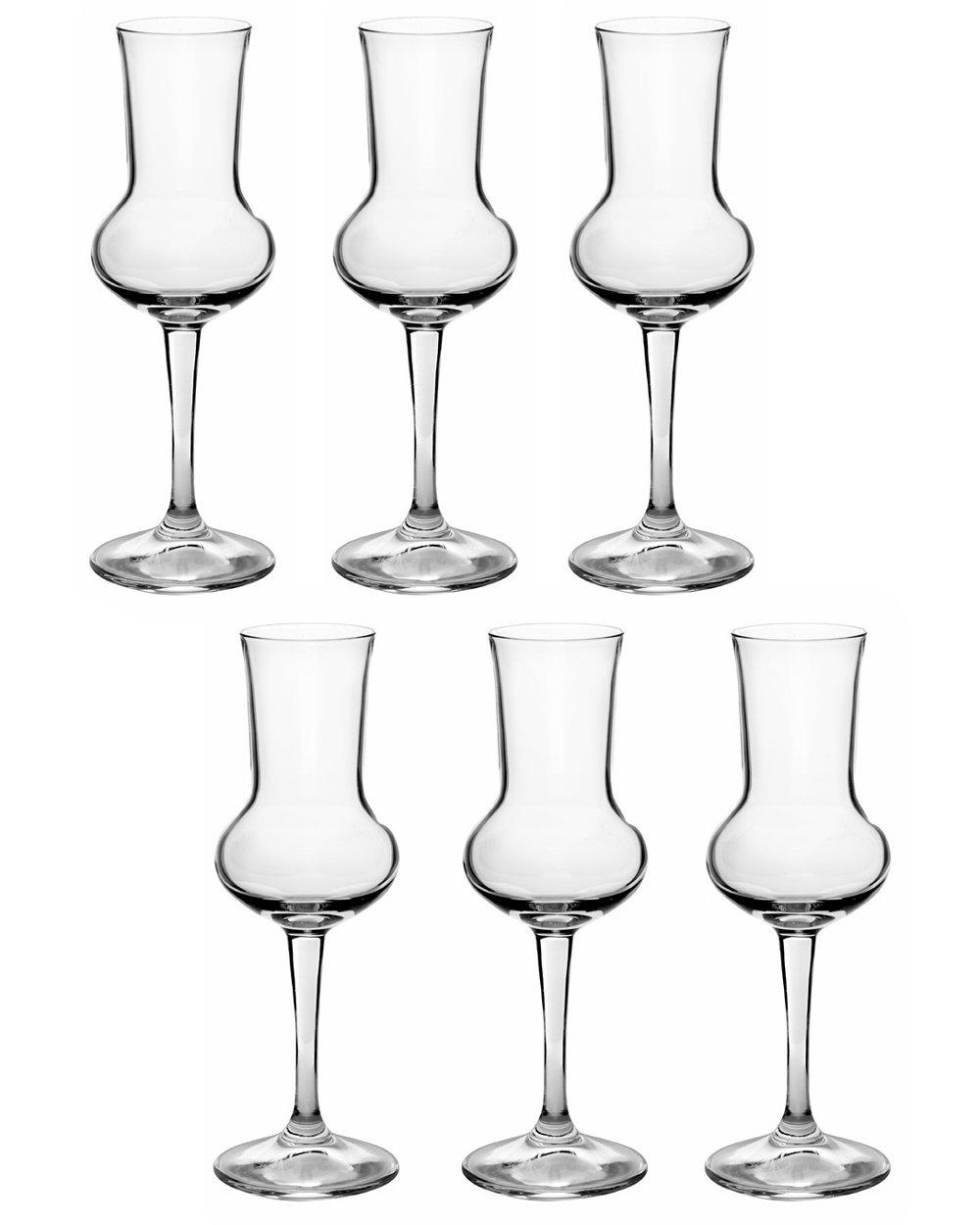 Bormioli Rocco Riserva Grappa 80ml, with filling mark at 2cl, 6 Glasses