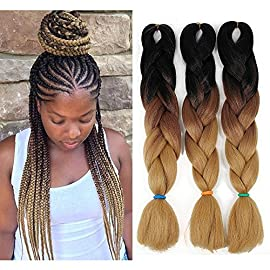 Ombre Braiding hair 24 inch 100g Crochet Braids Kanekalon Braiding Hair Synthetic Hair Extension (24inch,3Packs, Ombre…