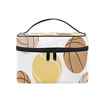 328739966f Amazon.com   Cosmetic Bag Makeup toiletry Bag Football Basketball Baseball  Travel Case Organizer for Women   Beauty