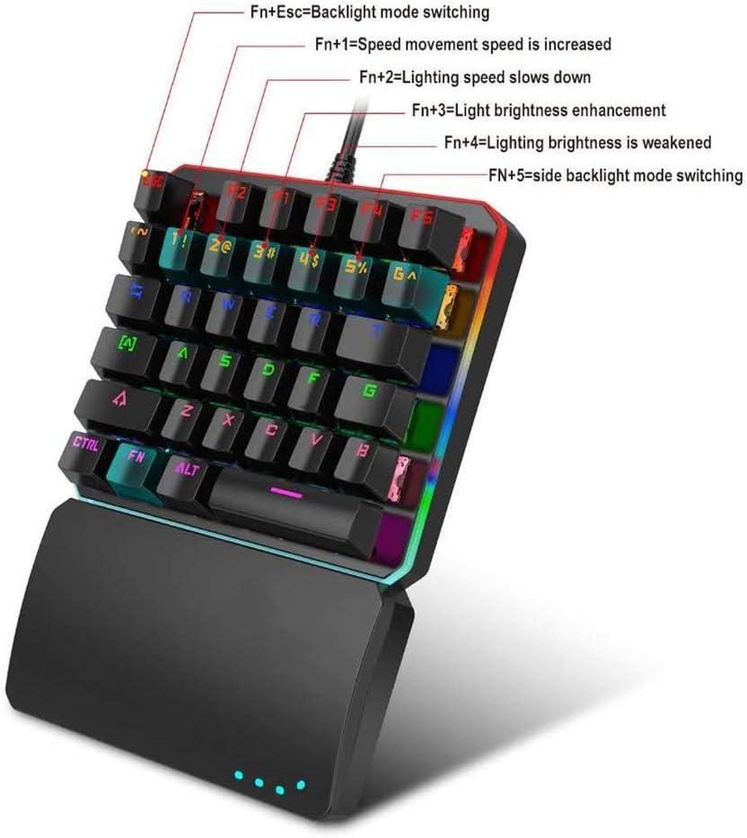 One Handed Keyboard,RGB LED Backlit Portable Mini Gaming Keypad 35 Keys USB Wired for Computer//PC//Desktop//Laptop