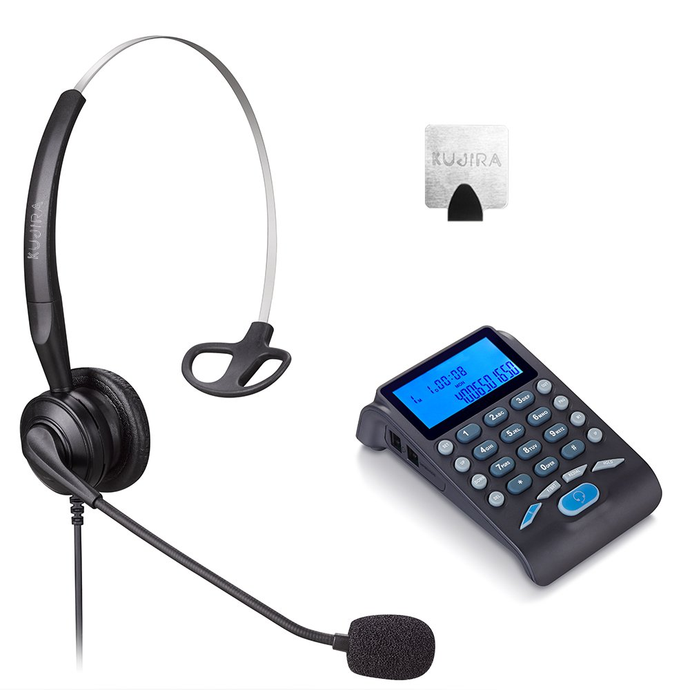 KUJIRA Desktop Telephone Headset with Noise Canceling Microphone and Dialpad for Telephone Counseling Services, Insurance, Office Workers, Call Center - Black