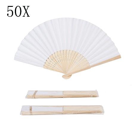 Tesan 50 Stück DIY Hand Fächer Bambus Taschenfächer Papierfächer Hochzeit Zubehör & Gefälligkeiten Handventilator Faltbare Fa