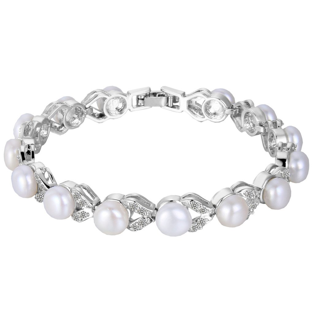 EVER FAITH Silver-Tone Cubic Zirconia Cream Simulated Pearl Elegant Dual Leaves Tennis Bracelet Clear