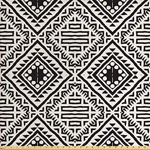 - Lunarable Black and White Fabric by The Yard, Tribal Pattern with Doodle Elements Aztec Ethnic Geometric Art Print, Decorative Fabric for Upholstery and Home Accents, 1 Yard, Black and White