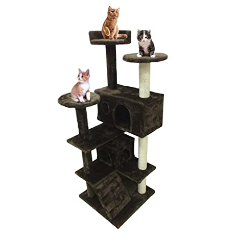 Homgrace Árbol para Gatos Juguete Rascador para Que los Gatos para Relajarse, Jugar y Descansar (Marrón-130cm)