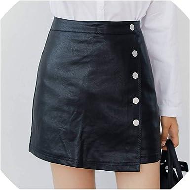 Kion Pasue women skirts Les Femmes en Cuir Jupe Boutons d