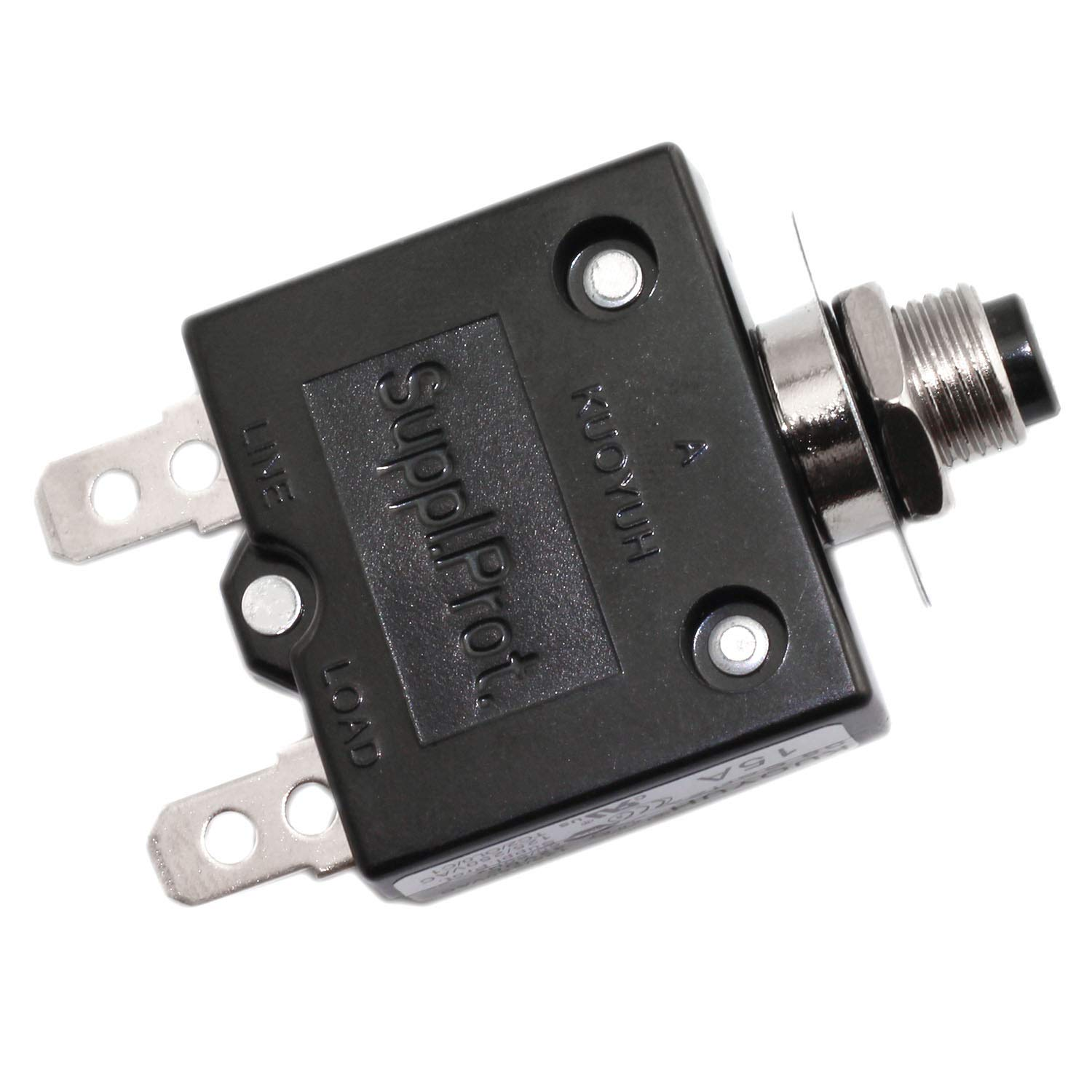 RuiLing 1-Pack 15A Thermal Overload Protector Push Button Switch Mini Size Thermal Circuit Breakers