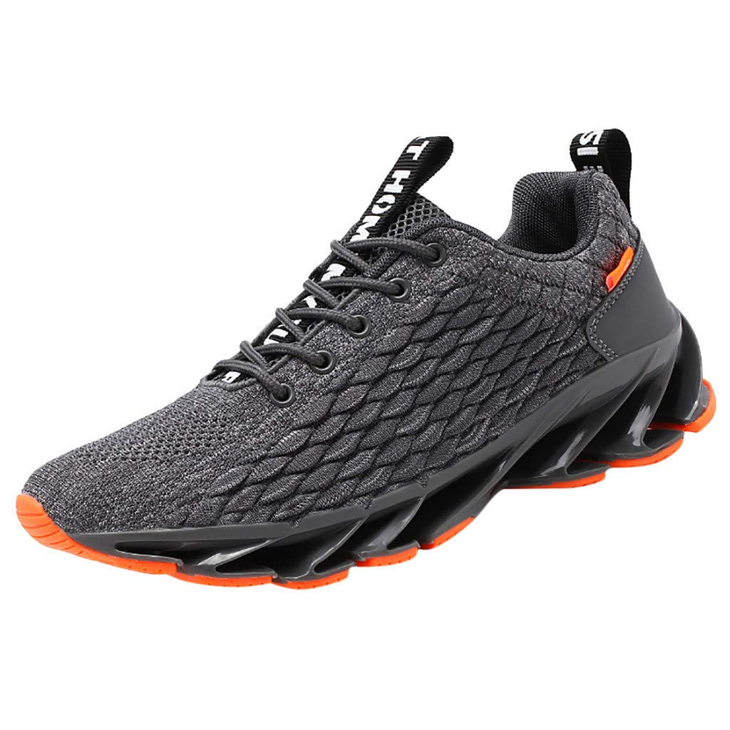 Mens Casual Athletic Sneakers Non-Slip Breathable Running Shoe Knit Tennis Shoe Lace Up Walking Shoe By Lmtime(Gray,39)
