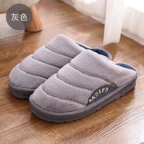Fankou autunno caldo inverno home soggiorno maschio e femmina giovane cotone pantofole pavimento coperto di spessore, custodia antiscivolo con ,38-39, grigio chiaro