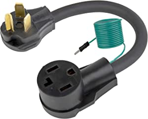 1.5FT Nema 10-30P to 14-30R Dryer Adapter Cord, STW 10-AWG Heavy Duty 3-Prong Dryer Male to 4-Prong Dryer Female Adapter, 10-30P to 14-30R with Additional Green Ground Wire
