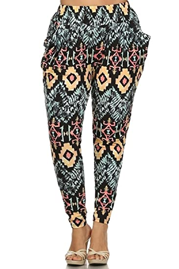 b1a0d460296 Leggings4U Elegant4U Junior Plus colorful Pastel Tribal Printed Harem Pants  at Amazon Women s Clothing store