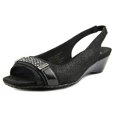 aa3b4be58d509 Amazon.com | Anne Klein Womens Harmonia Open Toe Casual Slingback, Black  Multi, Size 6.5 | Shoes