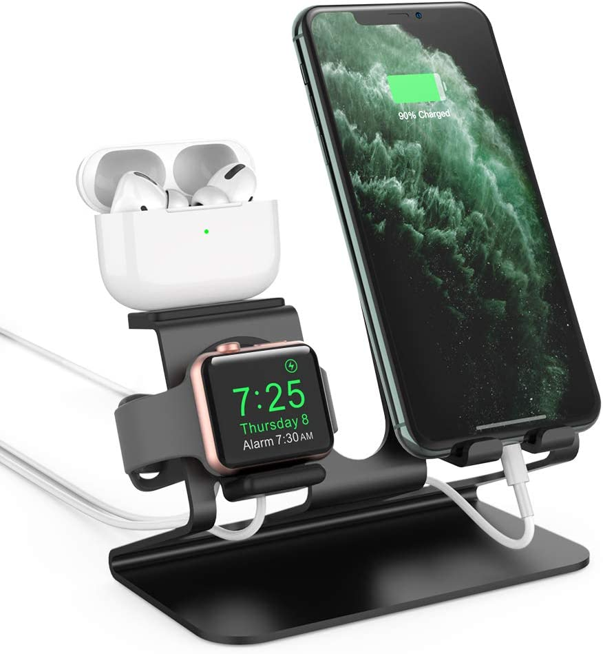 AhaStyle 3 in 1 Charging Stand Dock Aluminum Desktop Holder for Cell Phone, AirPods Pro/AirPods 2/ AirPods and Apple Watch Series 5/4/3/2/1(Black)