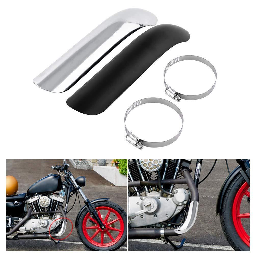 Pare Chaleur /Échappement Moto Protection Bouclier de Silencieux dEchappement Isolation Thermique Couvercle de Tuyau dEchappement de Courbe en Acier M/étal Silver