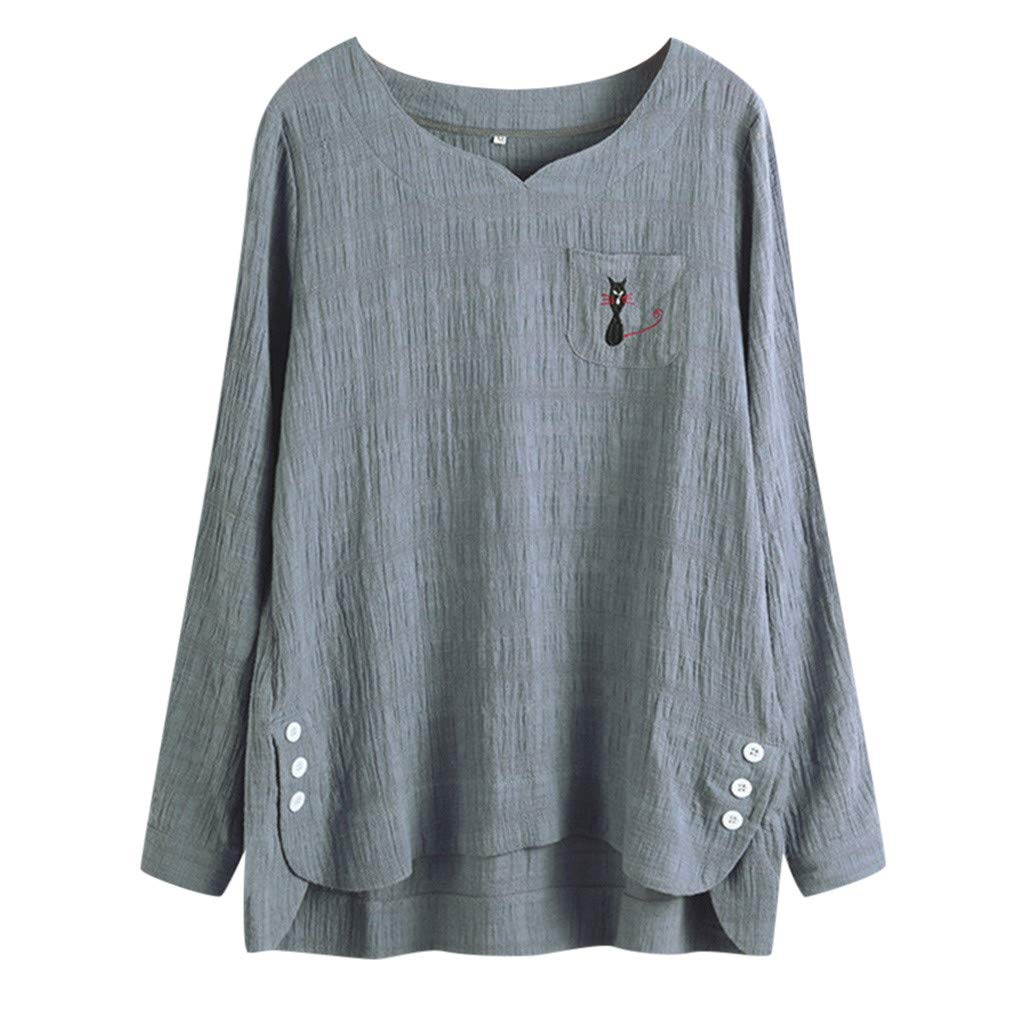 Womens Casual Plus Size Loose Linen Cat Print Button Tunic Shirt Blouse Gray