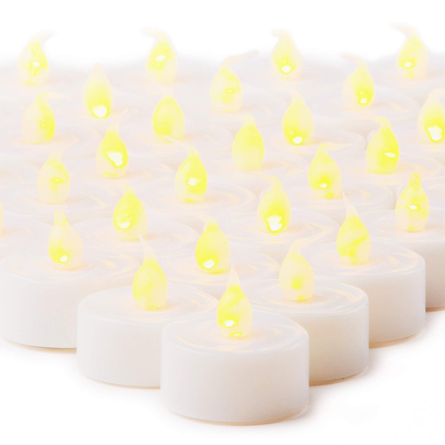 LampLust 100 White Flameless Tea Lights with Realistic Flickering Amber LED, Value Pack, Resin, Indoor/Outdoor Use, Batteries Included