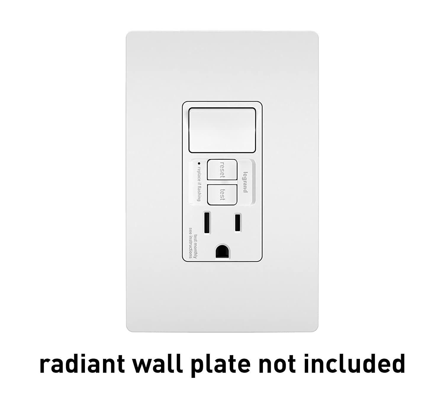Legrand Pass Seymour Radiant 1597swttrwccd4 15 Amp Combination Switch And Gfci Outlet Wiring Diagram Self Test Tamper Resistant Safety Single Pole White Ground Fault