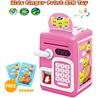 Magicwand Musical Money Safe Piggy Savings Bank with Finger Print Sensor and Solitaire Stickers for Kids (Pink and White)