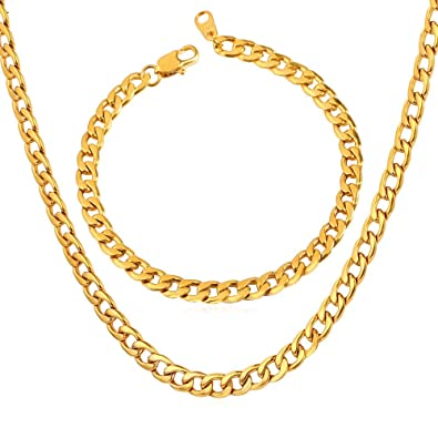 016856aa441d EuroLux Cadenas De Oro Men para Hombres Laminada Gold Necklace Set 18K GP  Stamp Wholesale Trendy Gold Plated 6MM Wide 6 Size Snake Chain Necklace  Bracelet ...