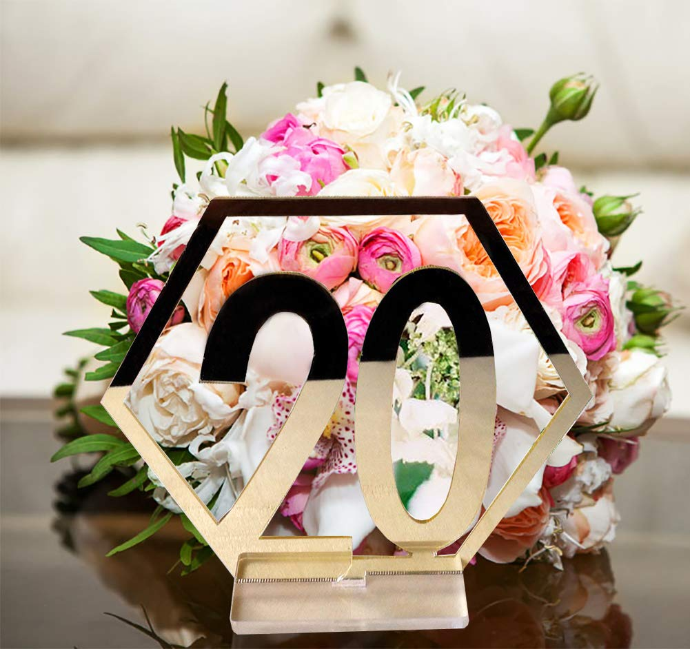 Gdaya Wedding Table Numbers,1-20 Gold/Silver Acrylic Standing Table Holder with Base for Wedding, Party, Reception or Catering Decoration (Gold)
