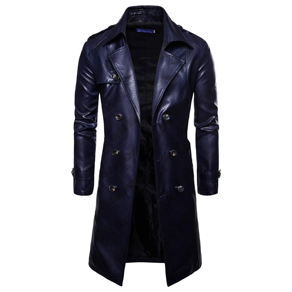 Clearance Sale,2018 Latest WUAI Mens Windbreaker Jacket Casual Outdoors Slim Fit Double Breasted Solid Trench Coat (Navy,US Size L = Tag XL)