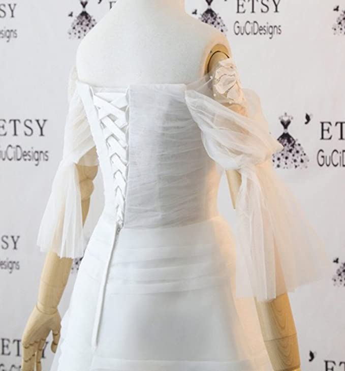 Newdeve White Off Shoulder Pagoda Sleeves Short Formal Dresses Lace up Prom Evening Cocktail Homecoming Dresses at Amazon Womens Clothing store:
