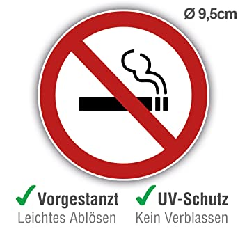 10 unidades + 1 gratis autoadhesivo Premium de Prohibido Fumar, totalmente gratis – Carteles autoadhesivos circulares de Prohibido Fumar para ...