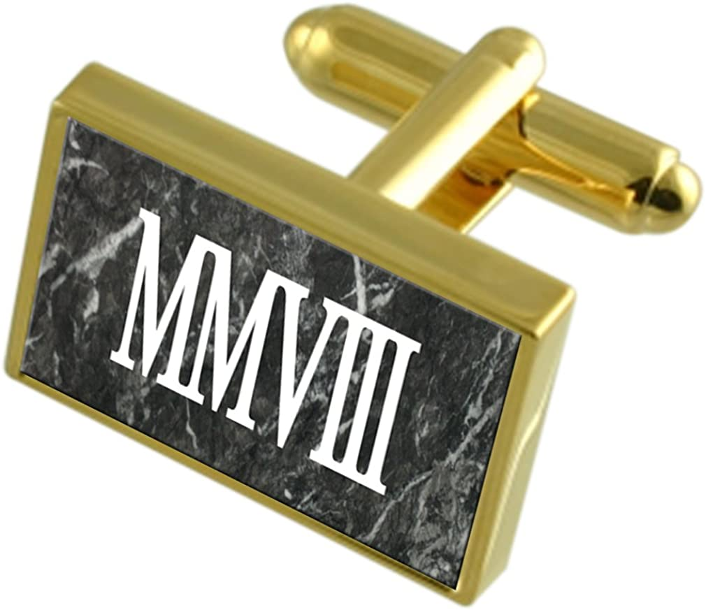 Select Gifts 2008 Birthday Year Gold-Tone Cufflinks Roman Numeral Number in Black Pouch